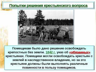 Попытки решения крестьянского вопроса Помещикам было дано решение освобождать