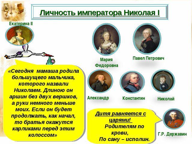 Личность императора Николая I Мария Федоровна Павел Петрович «Сегодня мамаша...