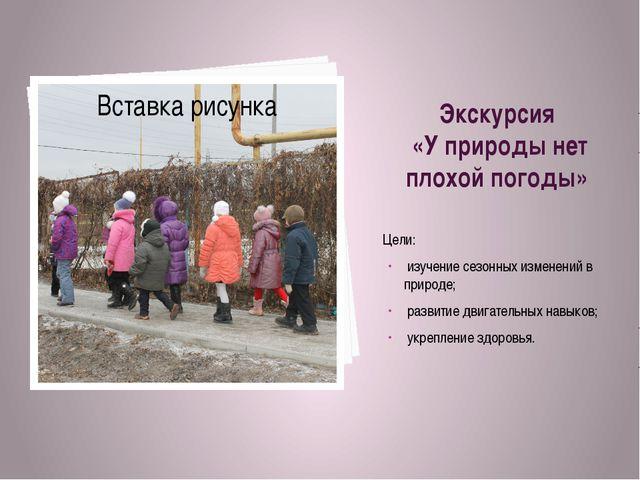 Экскурсия «У природы нет плохой погоды» Цели: изучение сезонных изменений в п...