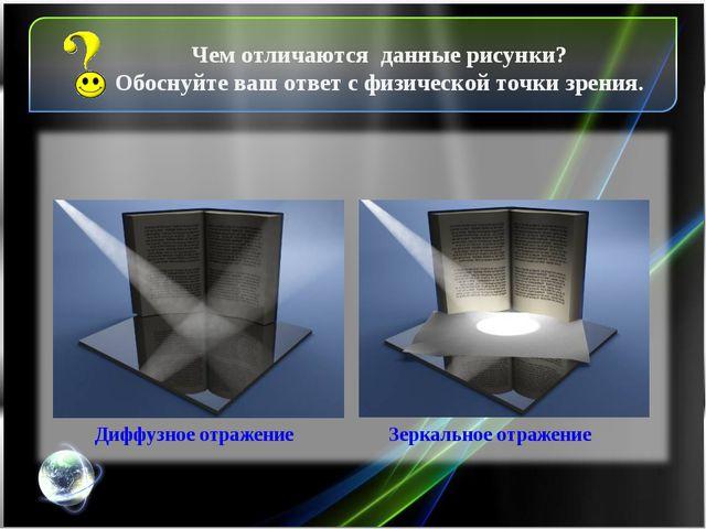 Зеркальное отражение Диффузное отражение Чем отличаются данные рисунки? Обосн...