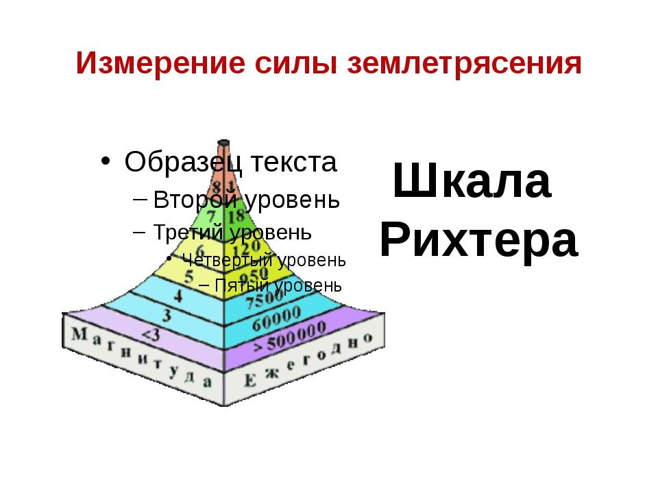 Измерение силы землетрясения Шкала Рихтера