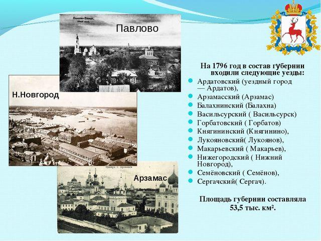 На 1796 год в состав губернии входили следующиеуезды: Ардатовский(уездный г...