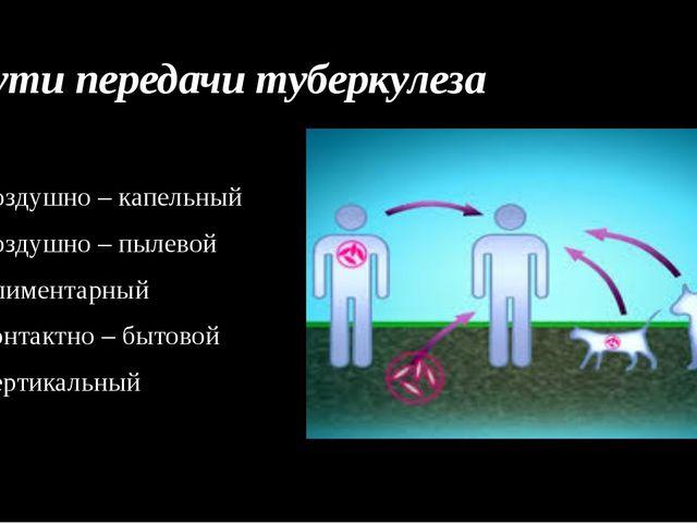 Пути передачи туберкулеза Воздушно – капельный Воздушно – пылевой Алиментарны...