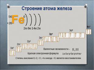 1s2 2s2 2p6 3s2 3p6 1s2 2s2 2p6 3s2 Краткая электронная формула Валентные воз