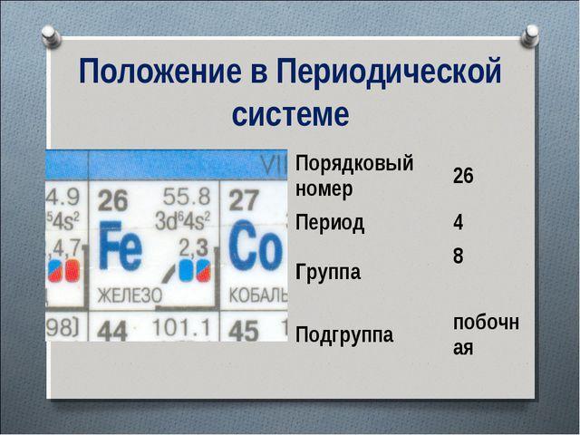 Положение в Периодической системе Порядковый номер26 Период4 Группа8 Подгр...