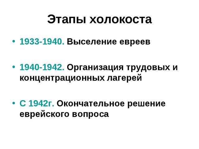 Этапы холокоста 1933-1940. Выселение евреев 1940-1942. Организация трудовых и...