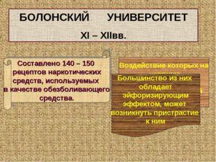 БОЛОНСКИЙ УНИВЕРСИТЕТ XI – XIIвв. Составлено 140 – 150 рецептов наркотических