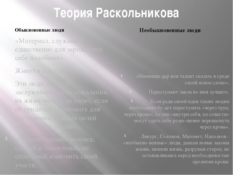 Теория Раскольникова Обыкновенные люди Необыкновенные люди «Материал, служащи...