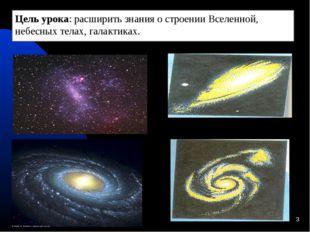 * Цель урока: расширить знания о строении Вселенной, небесных телах, галактик