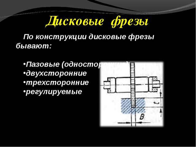 Дисковые фрезы По конструкции дисковые фрезы бывают: Пазовые (односторонние)...