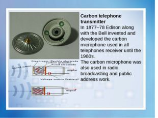 Carbon telephone transmitter In 1877–78 Edison along with the Bell invented