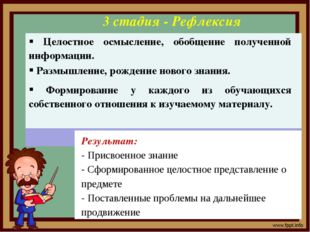 3 стадия - Рефлексия Результат: - Присвоенное знание - Сформированное целостн