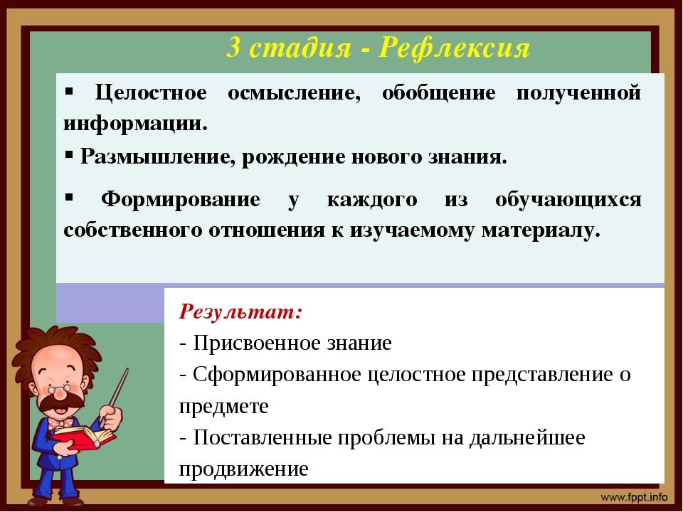 3 стадия - Рефлексия Результат: - Присвоенное знание - Сформированное целостн...