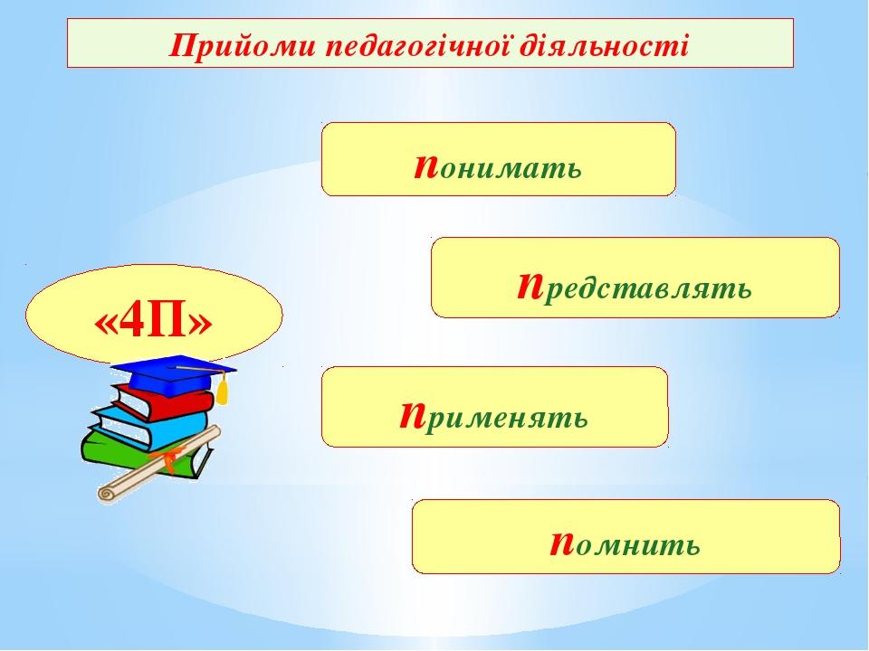 Прийоми педагогічної діяльності понимать представлять применять помнить «4П»