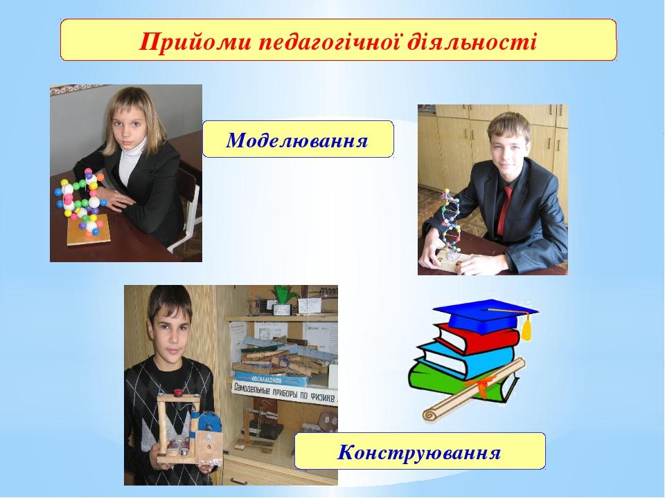 Прийоми педагогічної діяльності Моделювання Конструювання