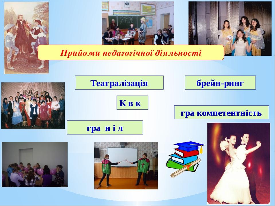 Театралізація К в к брейн-ринг гра н і л гра компетентність Прийоми педагогіч...