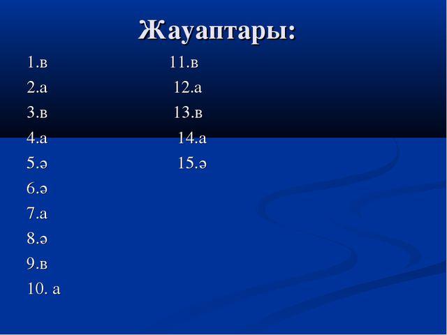 Жауаптары: 1.в 11.в 2.а 12.а 3.в 13.в 4.а 14.а 5.ә 15.ә 6.ә 7.а 8.ә 9.в 10. а