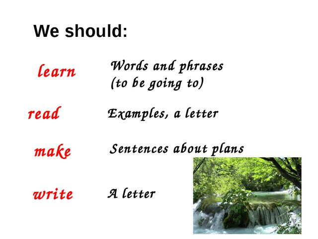 We should: learn Words and phrases (to be going to) read Examples, a letter m...