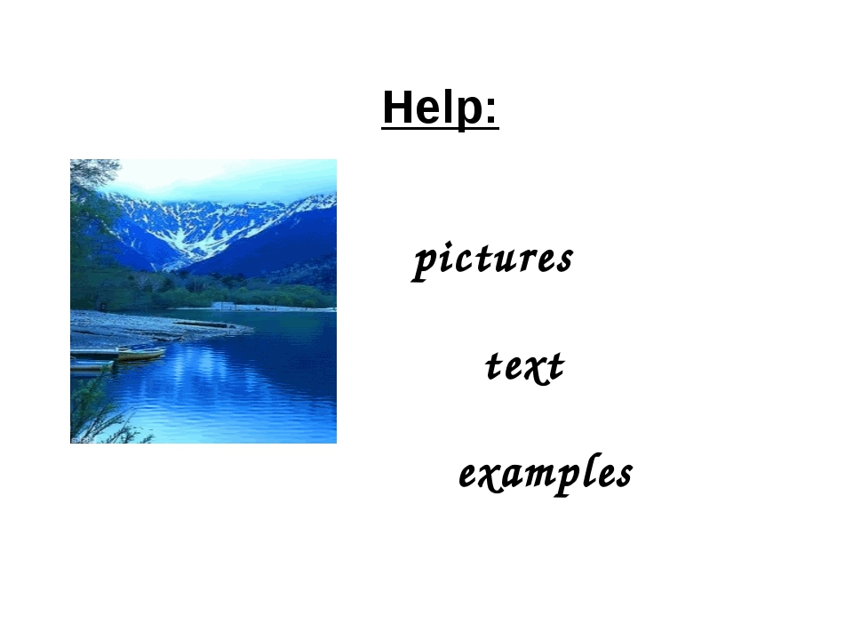 Help: pictures text examples