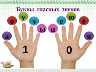 Буквы гласных звуков э ы у о а и е ё ю я 1 0