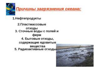 Причины загрязнения океана: 1.Нефтепродукты 2.Пластмассовые отходы 3. Сточные