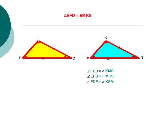 ∆EFD = ∆MKS Тең үшбұрыштардың сәйкес элементтері де тең болады EF = MK FD = K...