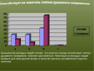 . Большинство молодых людей считает, что алкоголь иногда способствует снятию