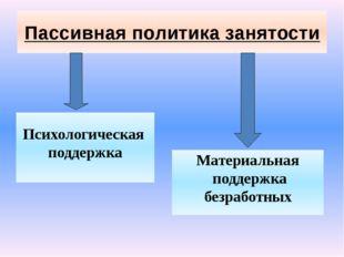 Пассивная политика занятости Психологическая поддержка Материальная поддержка