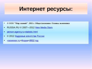 """Интернет ресурсы: © ООО """"Мир знаний"""". 2011 г. Обществознание. Основы экономик"""