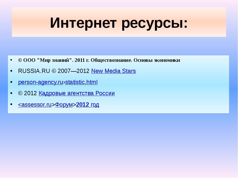 """Интернет ресурсы: © ООО """"Мир знаний"""". 2011 г. Обществознание. Основы экономик..."""