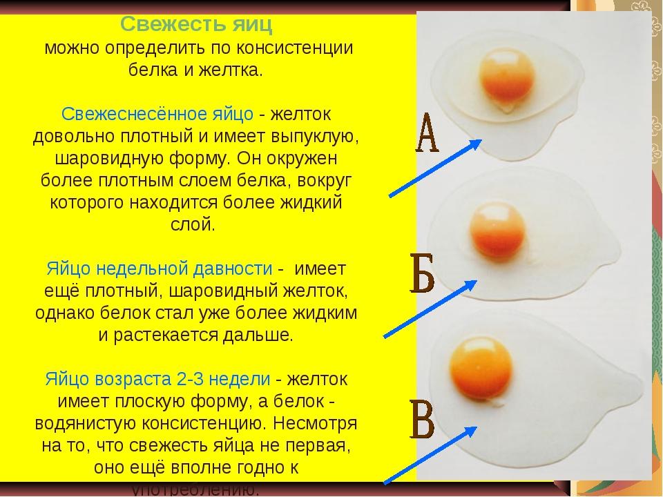 Свежесть яиц можно определить по консистенции белка и желтка. Свежеснесённое...