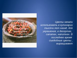 Цветы начали использовать в кулинарии тысячи лет назад, для украшения, в дес