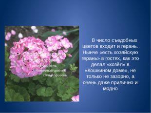 В число съедобных цветов входит и герань. Нынче «есть хозяйскую герань» в го