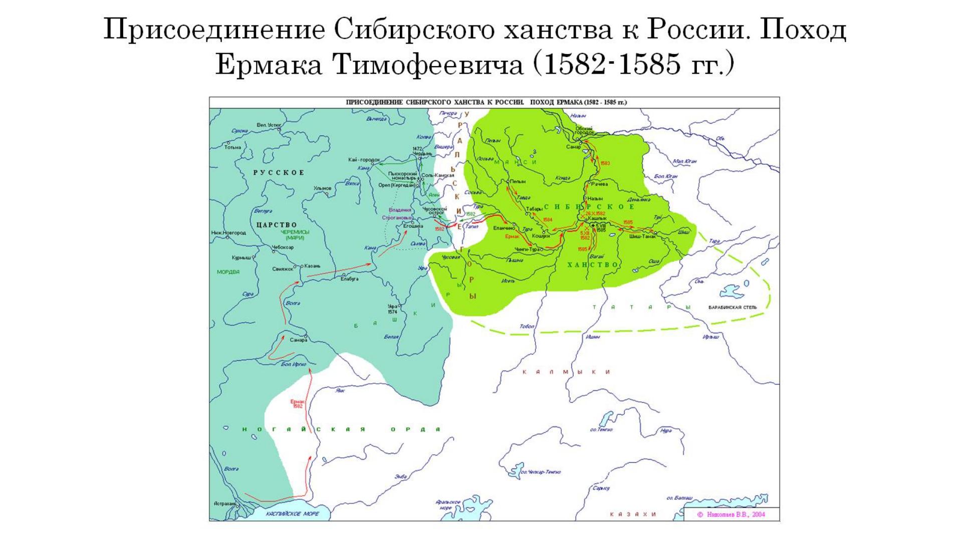 Присоединение Сибирского ханства к России. Поход Ермака Тимофеевича (1582-158...