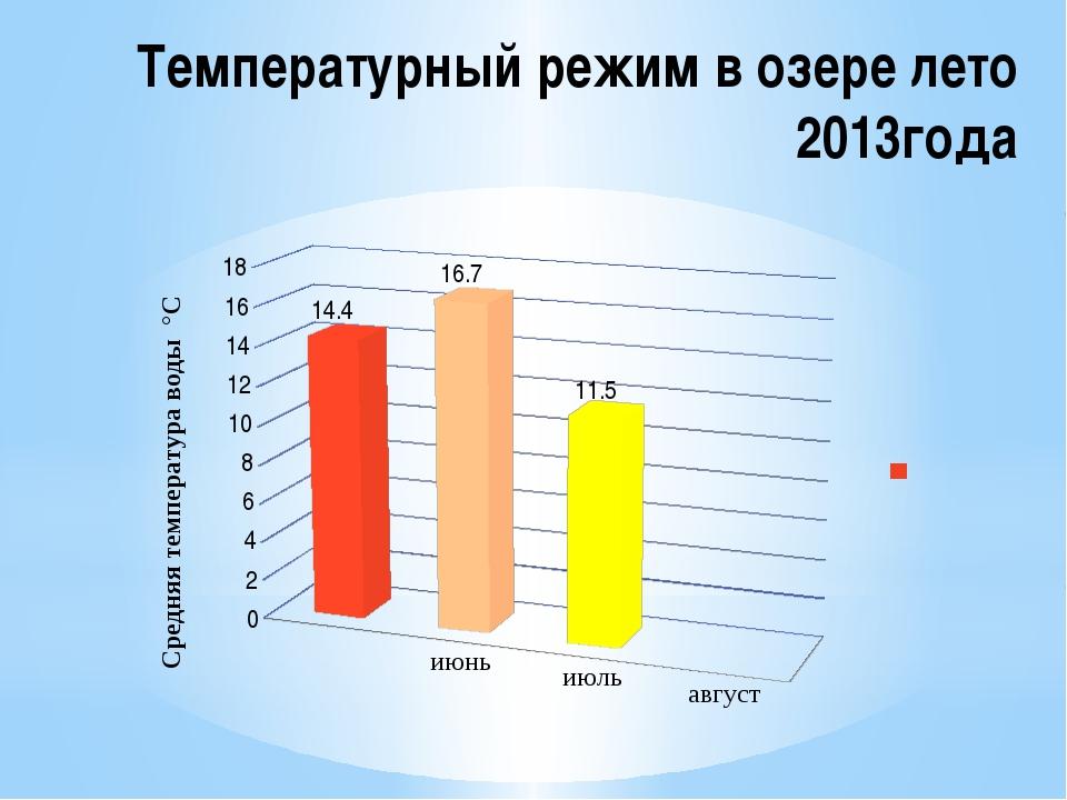Температурный режим в озере лето 2013года