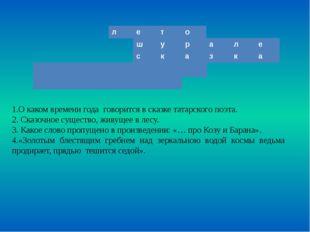1.О каком времени года говорится в сказке татарского поэта. 2. Сказочное суще