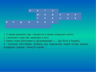 1. О каком времени года говорится в сказке татарского поэта. 2. Сказочное сущ
