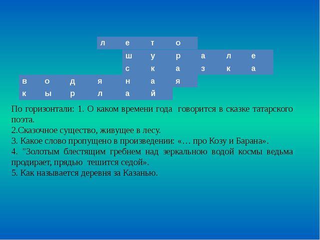 По горизонтали: 1. О каком времени года говорится в сказке татарского поэта....