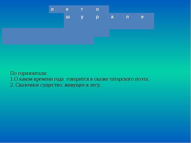 По горизонтали: 1.О каком времени года говорится в сказке татарского поэта. 2...