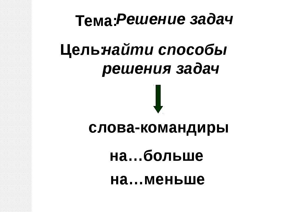 Тема: Решение задач Цель: найти способы решения задач слова-командиры на…боль...