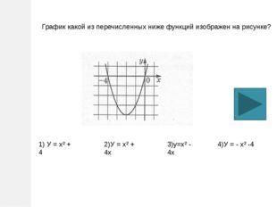 График какой из перечисленных ниже функций изображен на рисунке? 1) У = х² +