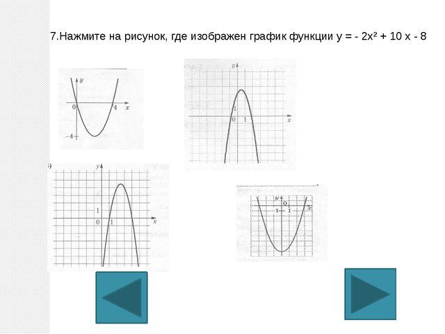 7.Нажмите на рисунок, где изображен график функции у = - 2х² + 10 х - 8