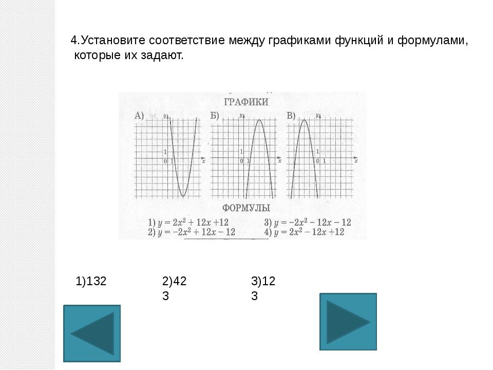 4.Установите соответствие между графиками функций и формулами, которые их зад...