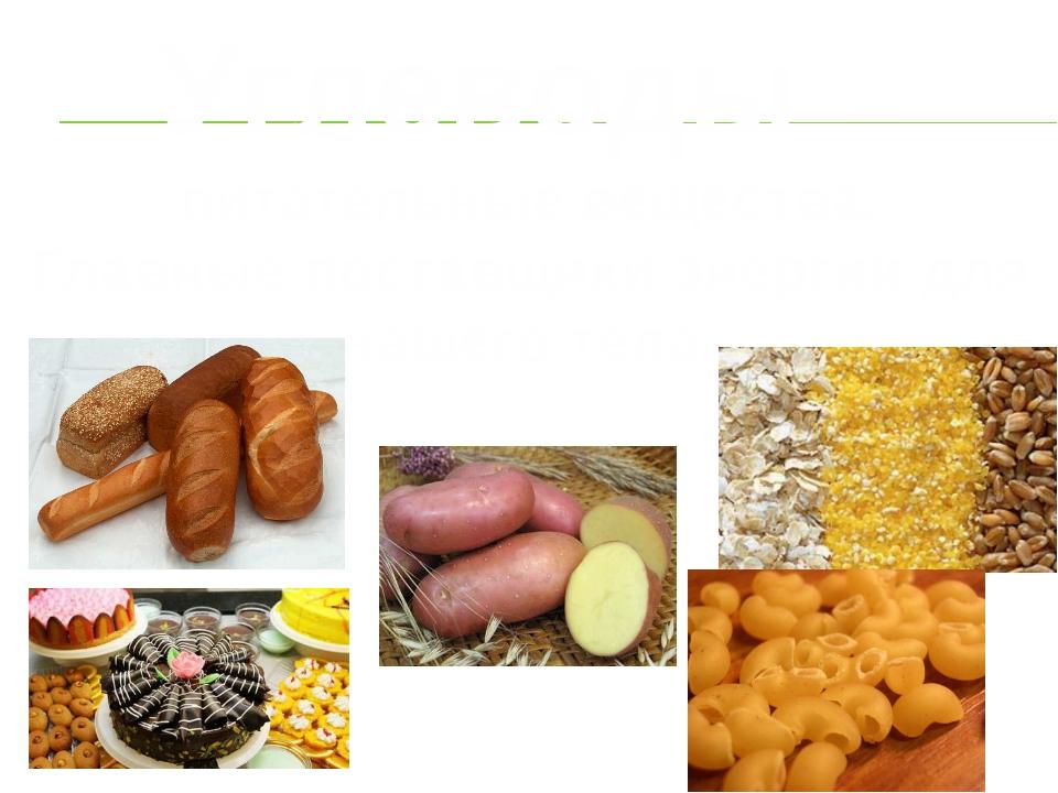 Углеводы – питательные вещества. Главные поставщики энергии для нашего тела.