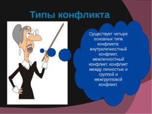 Типы конфликта Существует четыре основных типа конфликта: внутриличностный ко