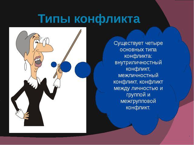 Типы конфликта Существует четыре основных типа конфликта: внутриличностный ко...