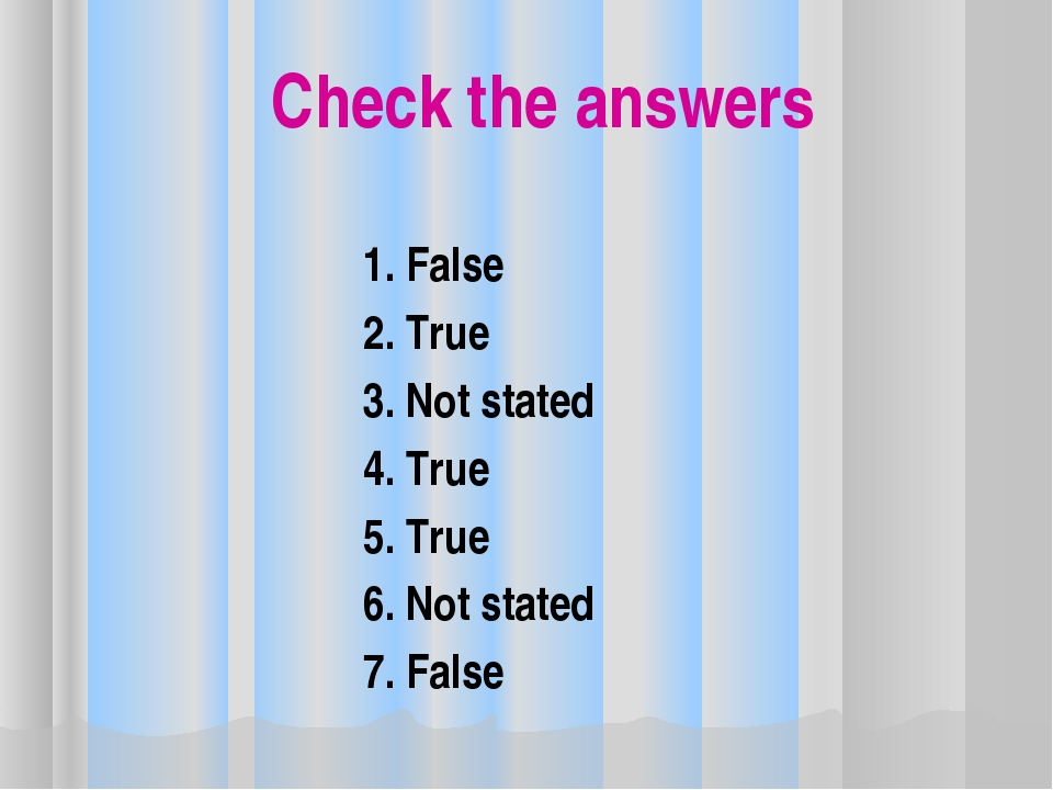 Check the answers 1. False 2. True 3. Not stated 4. True 5. True 6. Not state...