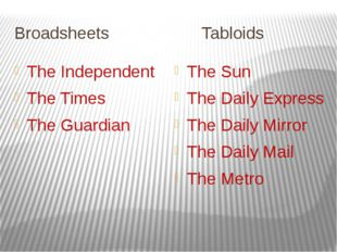 Broadsheets Tabloids The Independent The Times The Guardian The Sun The Daily