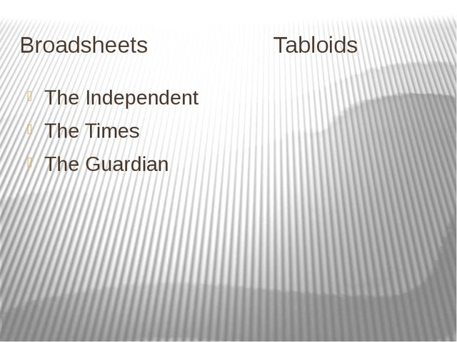 Broadsheets Tabloids The Independent The Times The Guardian