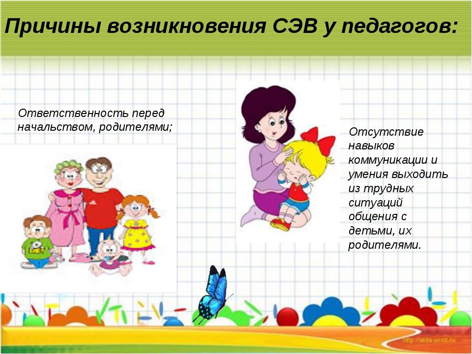 Причины возникновения СЭВ у педагогов: Ответственность перед начальством, род...